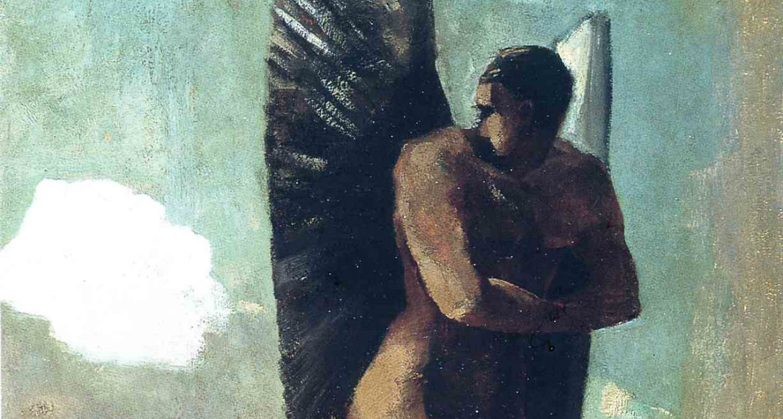 Odilon Redon, Fallen angel looking at cloud. Detalj.