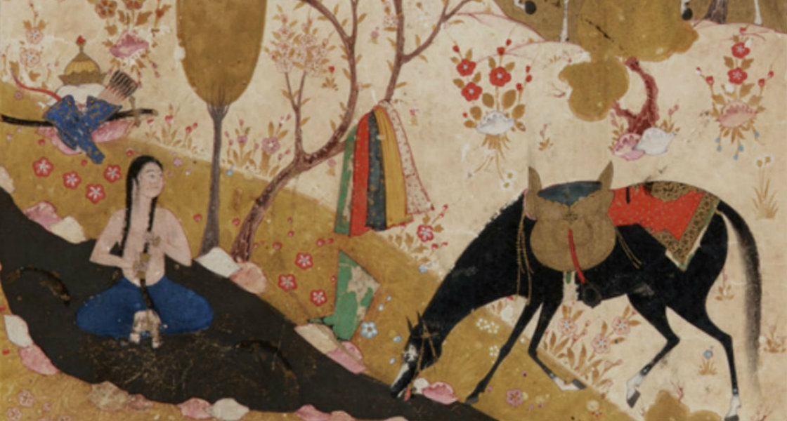 Nizami - Khusraw discovers Shirin bathing