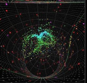 The first T2K event seen in Super-Kamiokande. Each dot is a PMT which has detected light. The two circles of hits indicate that a neutrino has produced a particle called a 0, perfectly in time with the arrival of a pulse of neutrinos from J-PARC. Another faint circle surrounds the viewpoint of this image, probably made by the low-energy muon created directly by the neurino.