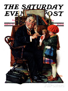 Norman Rockwell. Doctor and the doll. Saturday Evening Post cover march 9 1929