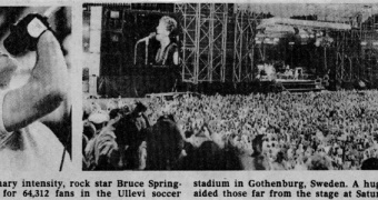 Bruce Springsteen på Ullevi 1985 under Born in the U.S.A. Tour. Foto: Associated Press/Brucebase.