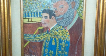 Ernest Hemingway and Matador, Antonio Ordonez, by Basque primitive artist,Domingo Uriarte