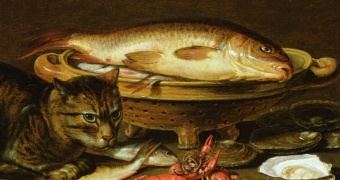 Clara Peeters - A still life with carp in a ceramic colander